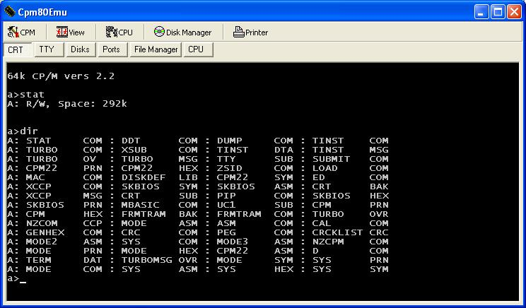 CPM80 2.2 running in emulator